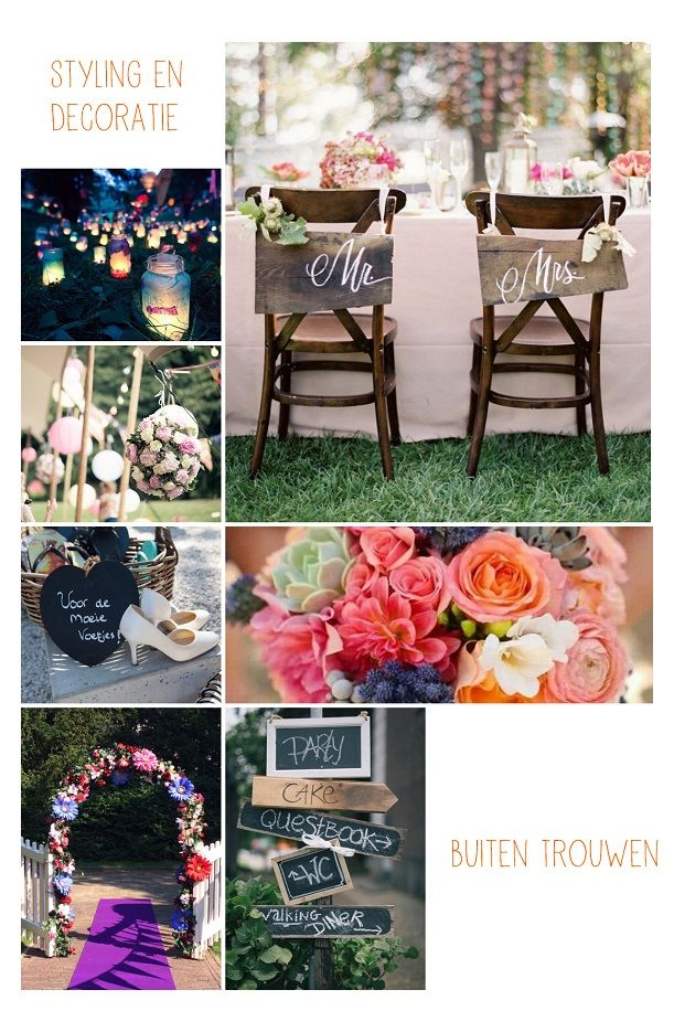 collage van bruiloft decoratie en styling